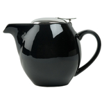 OmniWare Teaz Black Stoneware 24 Ounce Teapot with Stainless Steel Infuser