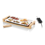 Swissmar White Ceramic 20 x 10 Inch Fusion Table Griddle Grill with Bamboo Base