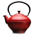 Primula Fleur Red Cast Iron 32 Ounce Teapot with Stainless Steel Infuser