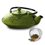Primula Dragonfly Green Cast Iron 28 Ounce Teapot with Stainless Steel Infuser