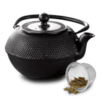 Primula Hammered Black Cast Iron 40 Ounce Teapot with Stainless Steel Infuser