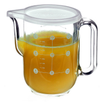 Bormioli Rocco Frigoverre 34 Ounce Measuring Pitcher With Frosted White Lid