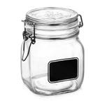 Bormioli Rocco Fido Square Chalk Label 25.25 Ounce Glass Jar
