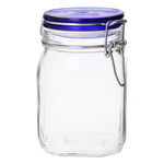 Bormioli Rocco Fido 33.75 Ounce Square Glass Jar With Blue Lid