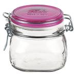 Bormioli Rocco Fido 17.5 Ounce Square Glass Jar With Fuchsia Lid