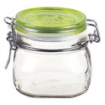 Bormioli Rocco Fido 17.5 Ounce Square Glass Jar With Green Lid