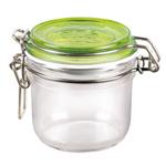 Bormioli Rocco Fido 4.25 Ounce Round Glass Jar With Green Lid
