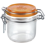 Bormioli Rocco Fido 4.25 Ounce Round Glass Jar With Orange Lid