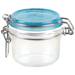 Bormioli Rocco Fido 6.75 Ounce Round Glass Jar With Sky Blue Lid