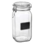 Bormioli Rocco Fido Square Chalk Label 50.75 Ounce Glass Jar