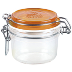 Bormioli Rocco Fido 6.75 Ounce Round Glass Jar With Orange Lid