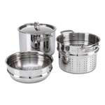 Viking Mirror Finish 3 Ply Stainless Steel 8 Quart Multi-Cooker Pot with Steamer Insert