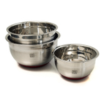 Bobby Flay 3 Piece Stainless Steel Mixing Bowl with Red Non-skid Base Set