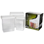 Click Clack Kitchen Essentials Large 3 Piece Airtight Storage Container Set with White Lids