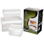 Click Clack Kitchen Essentials 3 Piece Airtight Storage Container Set with White Lids