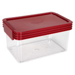 Click Clack Kitchen Essentials Airtight 1 Quart Storage Container with Red Lid