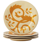 Rachel Ray Gold Scroll Almond Cream Stoneware 6 Inch Round Appetizer Plate, Set of 4