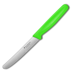 Victorinox Swiss Stainless Steel Round 4.5 Inch Utility Knife with Green Fibrox Handle