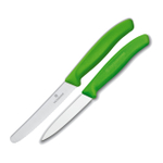 Victorinox Swiss 2 Piece Stainless Steel Utility and Paring Knife Set with Green Fibrox Handles