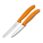 Victorinox Swiss 2 Piece Stainless Steel Utility and Paring Knife Set with Orange Fibrox Handles