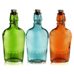 Grant Howard Assorted Color Glass Flasks with Wire Bail Closure 9 Ounce, Set of 12