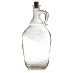 Grant Howard Turkish Glass Jumbo Pot Belly 2 Quart Corked Bottle with Embossed Taormina Sun
