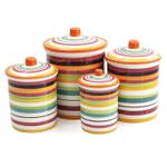 Omniware Rio Multi-Stripe Ceramic 4 Piece Canister Set