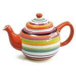 Omniware Rio Multi-Stripe Ceramic 45 Ounce Teapot with Infuser