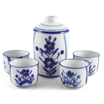 Blue Floral Sake Carafe and Cup 5 Piece Set