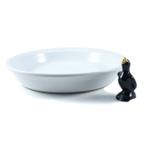 Le Creuset White Stoneware Pie Dish With Black Onyx Pie Bird
