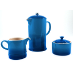 Le Creuset Marseille Blue Stoneware French Press Coffee Maker With Matching Cream and Sugar Set