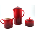Le Creuset Cherry Stoneware French Press Coffee Maker With Matching Cream and Sugar Set