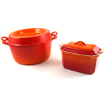 Le Creuset Flame Enameled Cast Iron Doufeu and Stoneware Pate Terrine Cookware Set