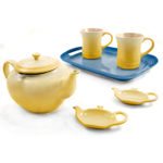 Le Creuset Mother's Day Soleil and Marseille Blue Stoneware Tea Serving Set with 2 Free Teabag Holders