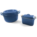 Le Creuset Marseille Blue Enameled Cast Iron Doufeu and Stoneware Pate Terrine Cookware Set