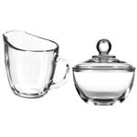 Anchor Hocking Presence Glass Sugar Bowl and Creamer Set