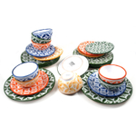 Sobremesa Fairtrade Fez Collection 24 Piece Hand Made Multicolor with Green Ceramic Dinnerware Set, Service for 8