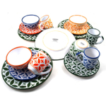 Sobremesa Fairtrade Fez Collection 16 Piece Hand Made Multicolor with Green Ceramic Dinnerware Set, Service for 4