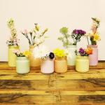 Sunday Morning Home 8 Piece Mixed Size Pastel Glass Hobnail Jar Set