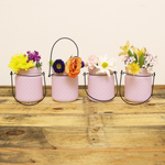 Sunday Morning Home Small Lavender Blush Glass Hobnail Jar with Hanger, Set of 4