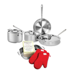 All-Clad D5 Brushed 18/10 Stainless Steel 8 Piece Cookware Set with Cookbook and Oven Mitts