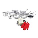 All-Clad 18/10 Stainless Steel 20 Piece Cookware Set with Cookbook and Oven Mitts