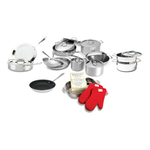 All-Clad D5 Brushed 18/10 Stainless Steel 20 Piece Cookware Set with Cookbook and Oven Mitts