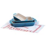 Le Creuset 3 Piece Caribbean Stoneware Rectangular Casserole Dish Set with Free Bonus Cuisine Towel