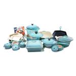 Le Creuset Signature Caribbean Enameled Cast Iron 24 Piece Cookware Set