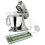 KitchenAid Artisan Series Contour Silver Tilt Head Stand Mixer with Free Kitchen Towel, 5 Quart