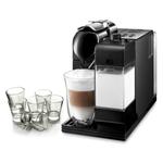 Delonghi Black Lattissima Plus Capsule Espresso and Cappuccino Machine with Free Set of 6 Espresso Glasses