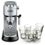 DeLonghi Dedica Stainless Steel Pump Espresso and Cappucino Machine with Free Set of 6 Italian Espresso Glasses