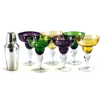 Mardi Gras Stainless Steel Cocktail Shaker and 6 Margarita Glasses Party Pack