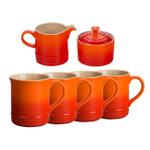 Le Creuset Flame Stoneware 6 Piece Coffee or Tea Service Set with Mugs and Cream & Sugar Set